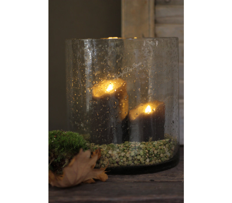 Wax LED stompkaars Flame grijs 13 cm