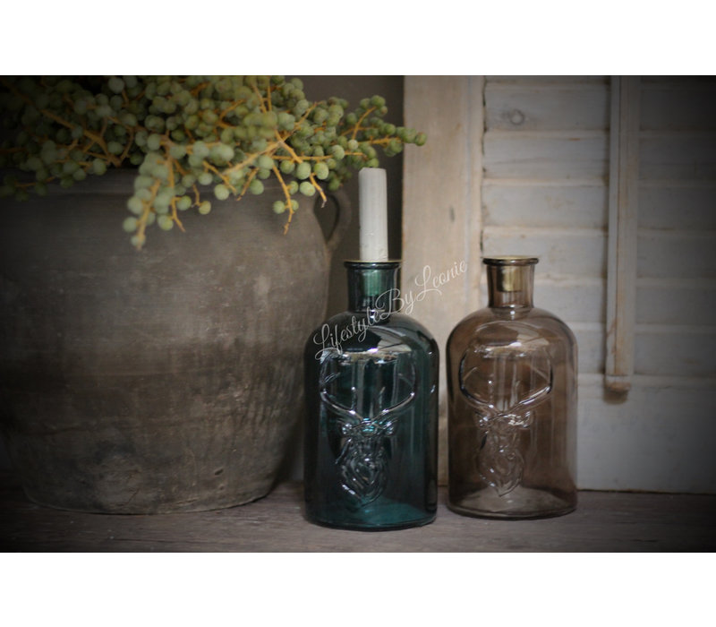 Glazen fleskandelaar Deer Brown glas 20 cm