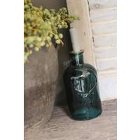 Glazen fleskandelaar Deer Green glas 20 cm