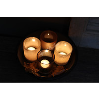 4 glazen windlichtjes Brown-amber 9cm