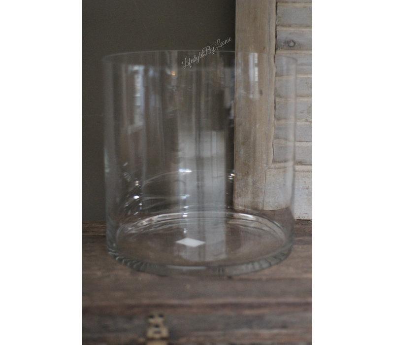 Helder glazen cilinder windlicht 30x30cm