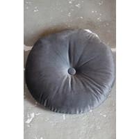Rond velvet kussen Charcoal 40cm