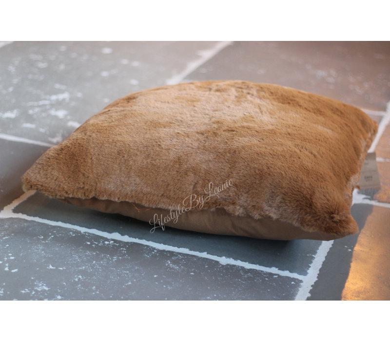Bont kussen tobacco brown 60cm
