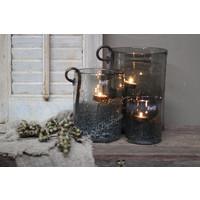 DUTZ cilinder windlicht met bubbels old grey 25 cm