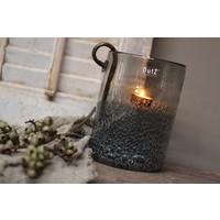 DUTZ cilinder windlicht met bubbels old grey 20cm