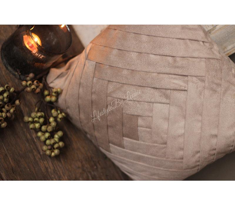Vierkant velvet kussen Cobble stone 45cm
