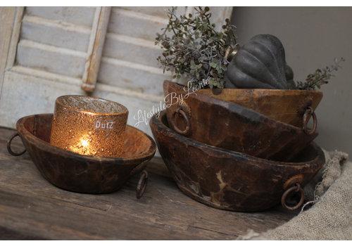 Ronde houten bak / schaal met ring