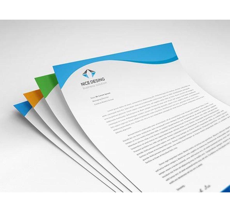 Briefpapier wit 90 grams dubbelzijdig in 2 Pantone kleuren