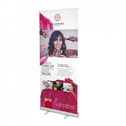 Budget roll-up banners met budget voet