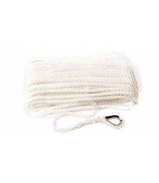 The Rope People Pre-spliced Rope 3 Strand White Anchor/ Mooring Lines with Thimble Eye