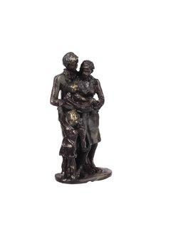 Bronzen beeld Gezin met dochter