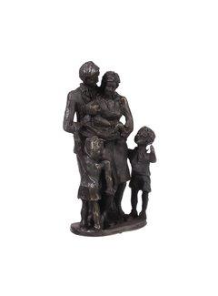Bronzen beeld Gezin met zoon en dochter
