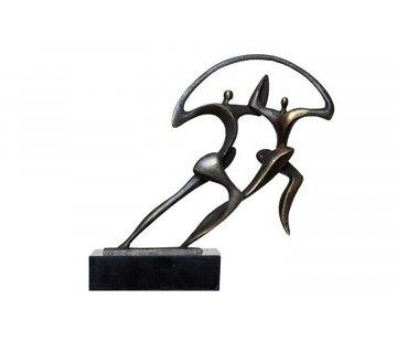 Bronzen beeld Samen vooruit