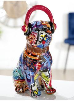 Mopshond beeld koptelefoon