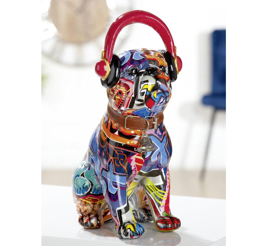 Mopshond beeld Pop-art koptelefoon