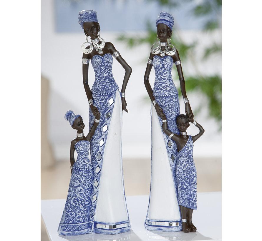 Beeldenset Afrikaanse moeder en zoon in mozaïek blauw.