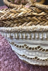 HAND WEAVED BAG WIDE RIBBON AND TASSELS OF BEADS