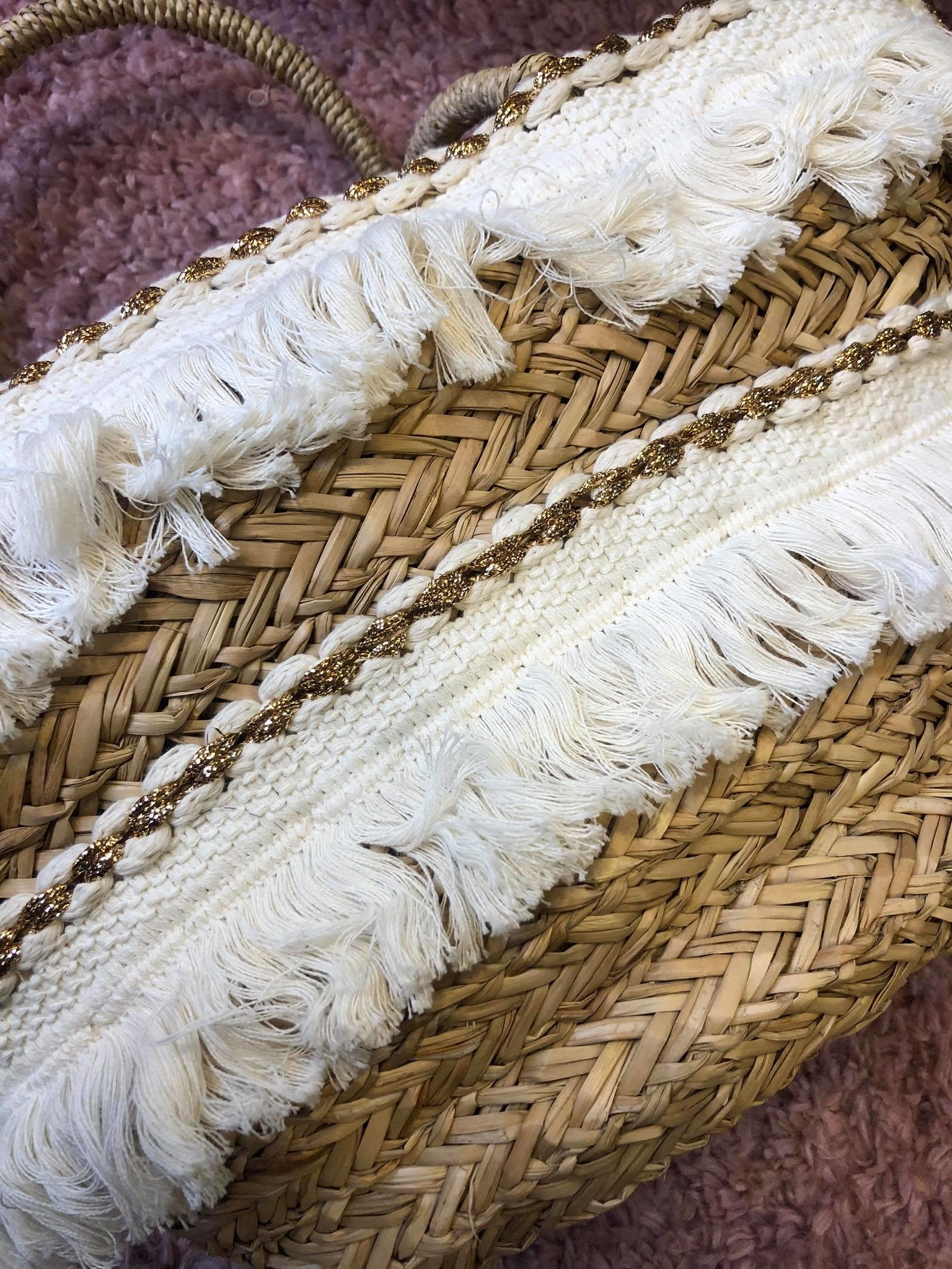 HAND WEAVED BEACH BAG 2 LAYERS OF FRANGES
