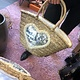HAND WEAVED BEACH BAG HEART MOTIF ZILVER