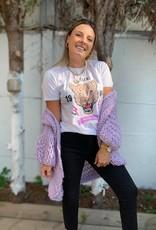 T-shirt tigerbeige-white lilac