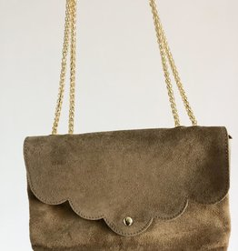 Suede bag taupe