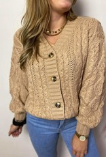 CARRIE CABLE CARDIGAN beige