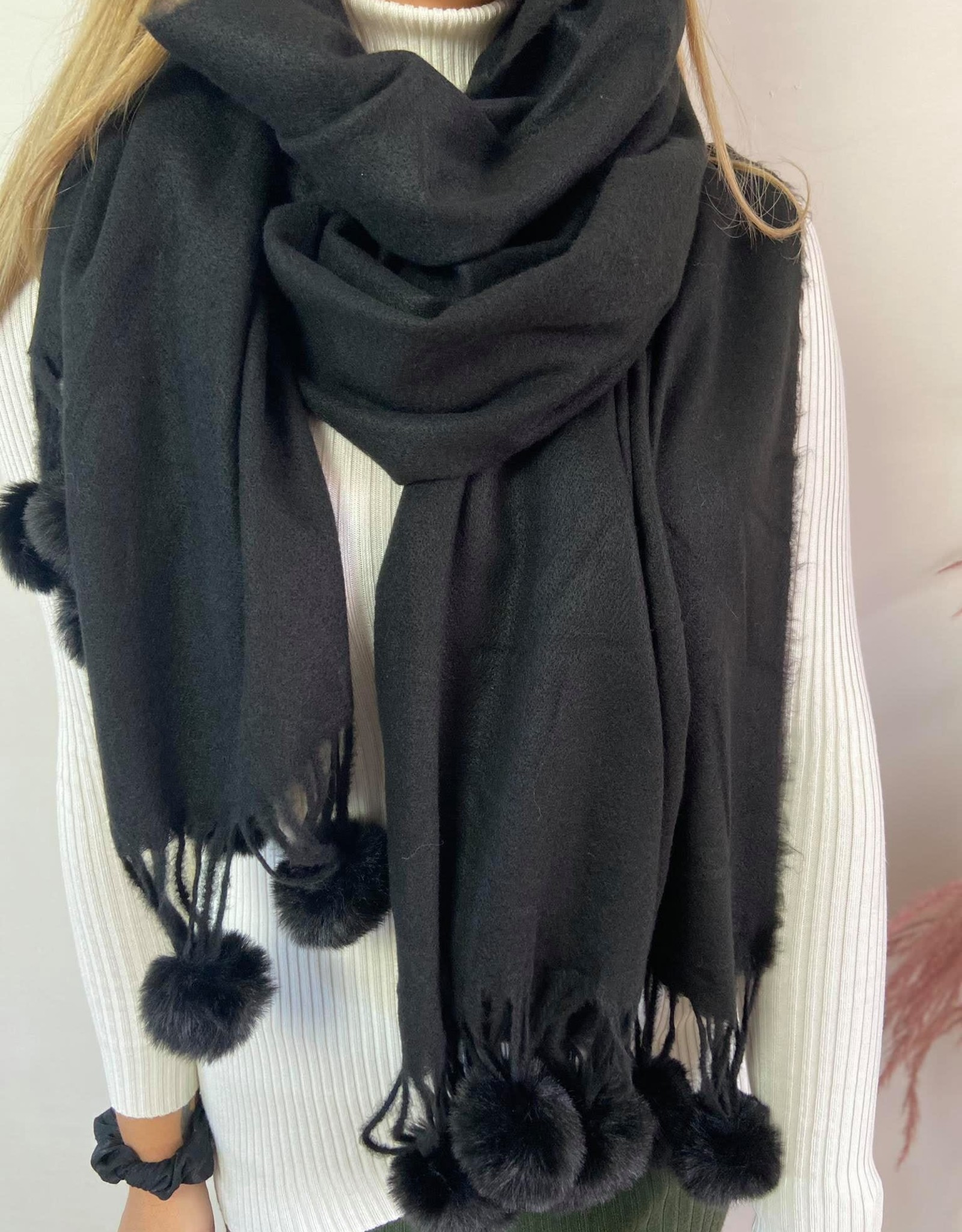Sjaal Fur pompom zwart