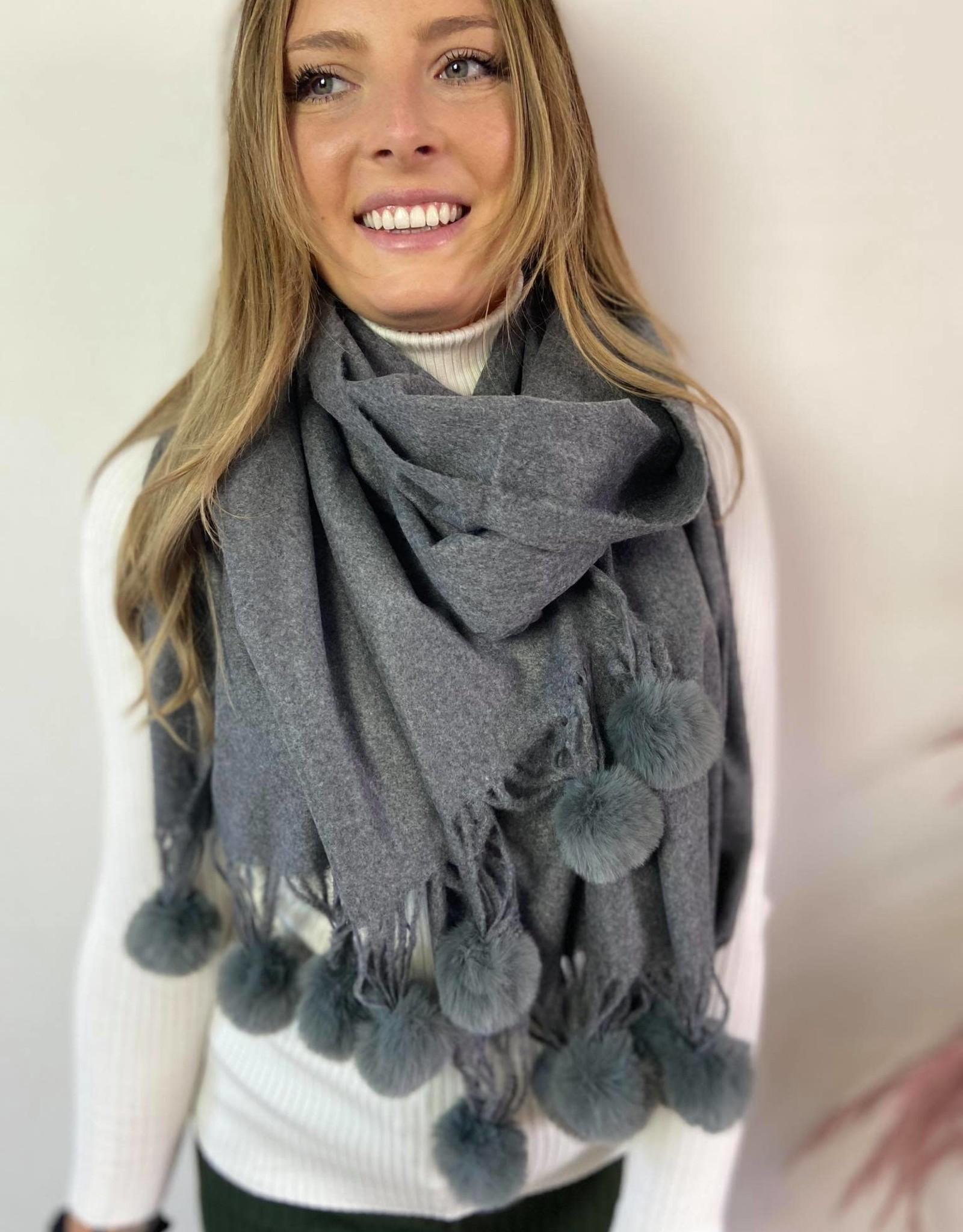 Sjaal Fur pompom grijs