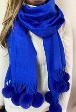 Sjaal Fur pompom royal blue