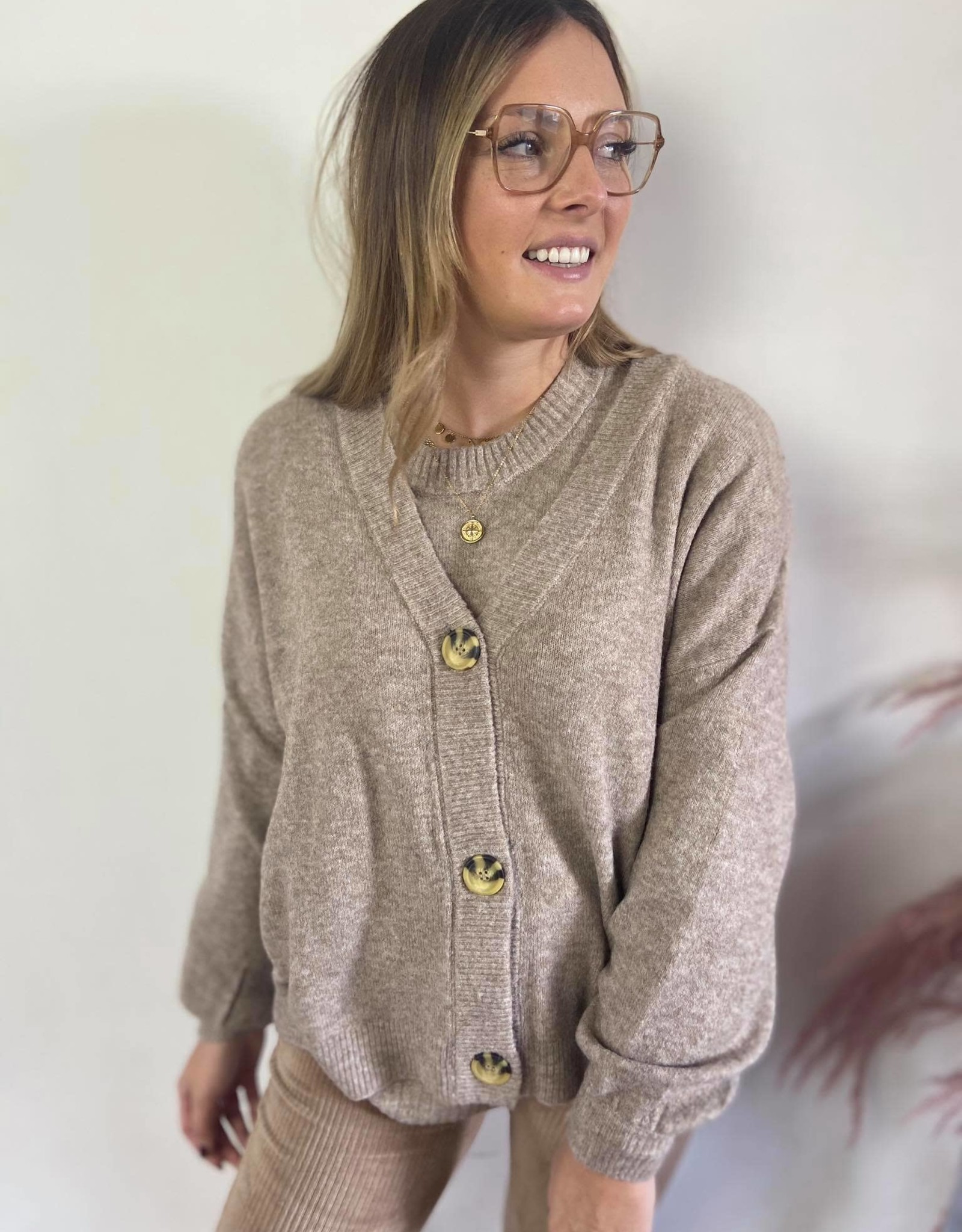 AnghaCR OZ Knit Cardigan taupe
