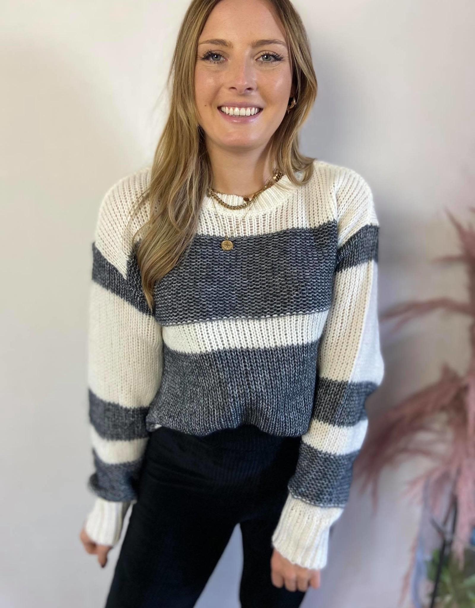 Nora striped knit black