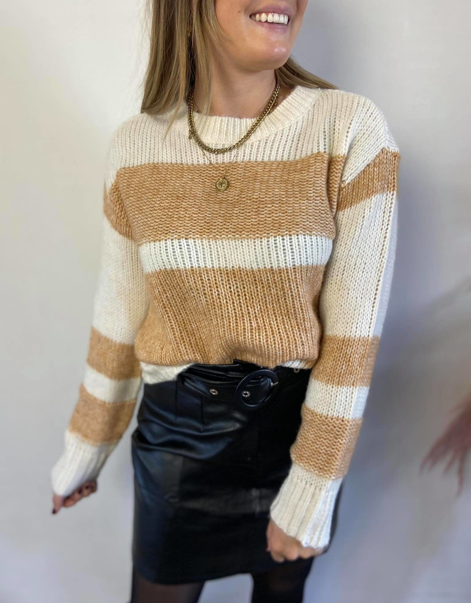 Nora striped knit beige