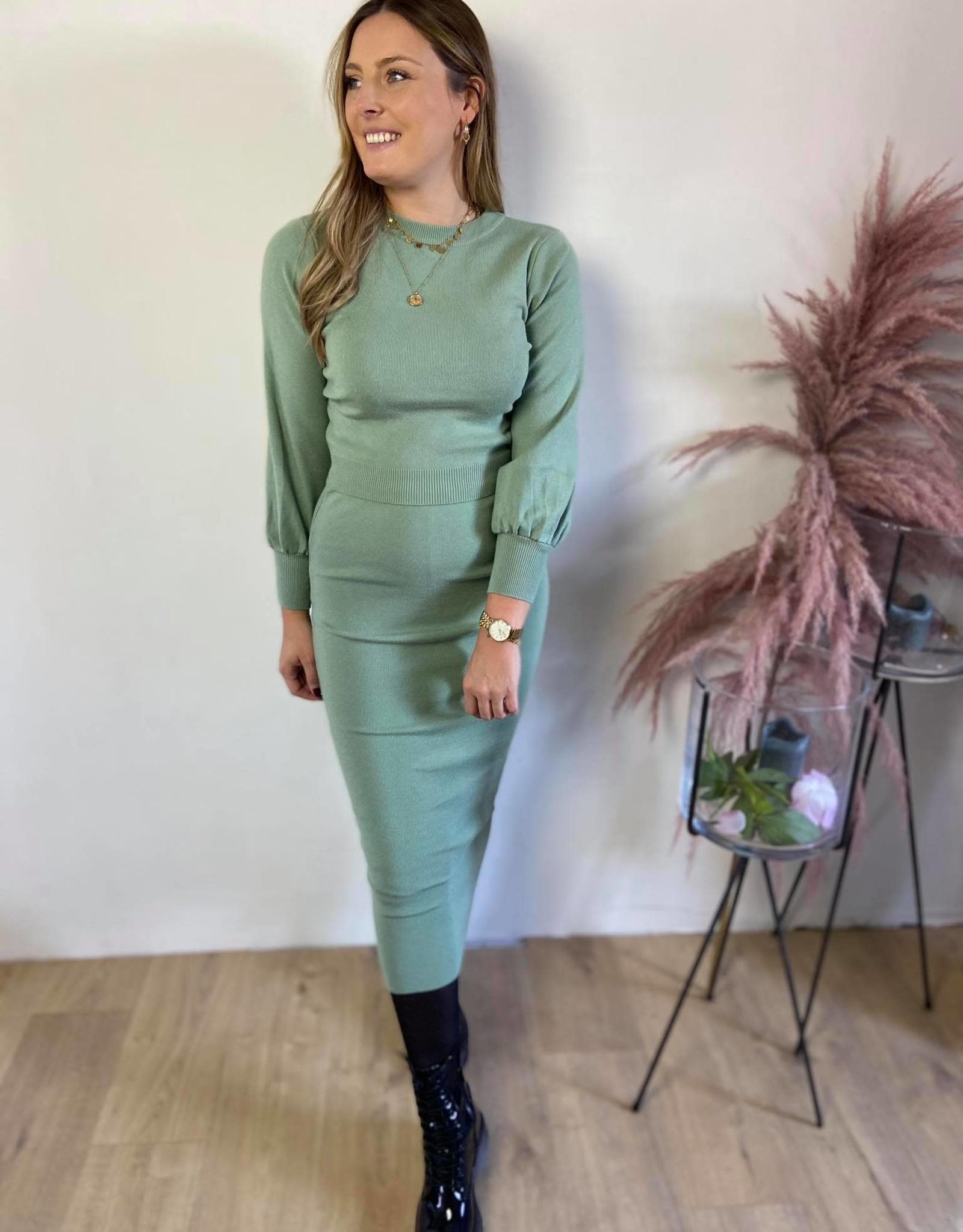 Sweater and tight skirt set mint TU