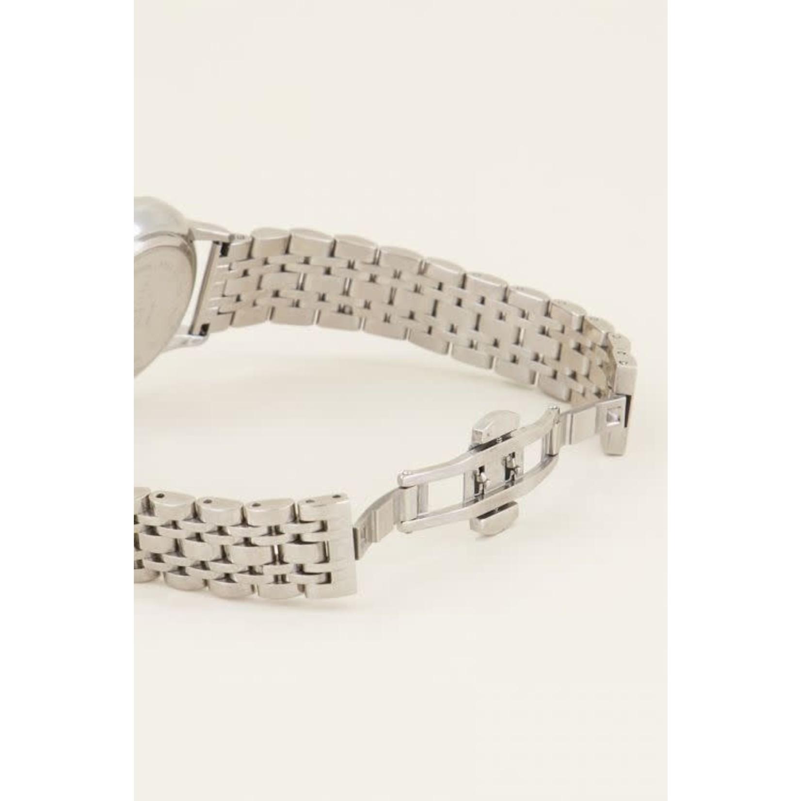 My Jewellery Rond horloge schakelband ZILVER