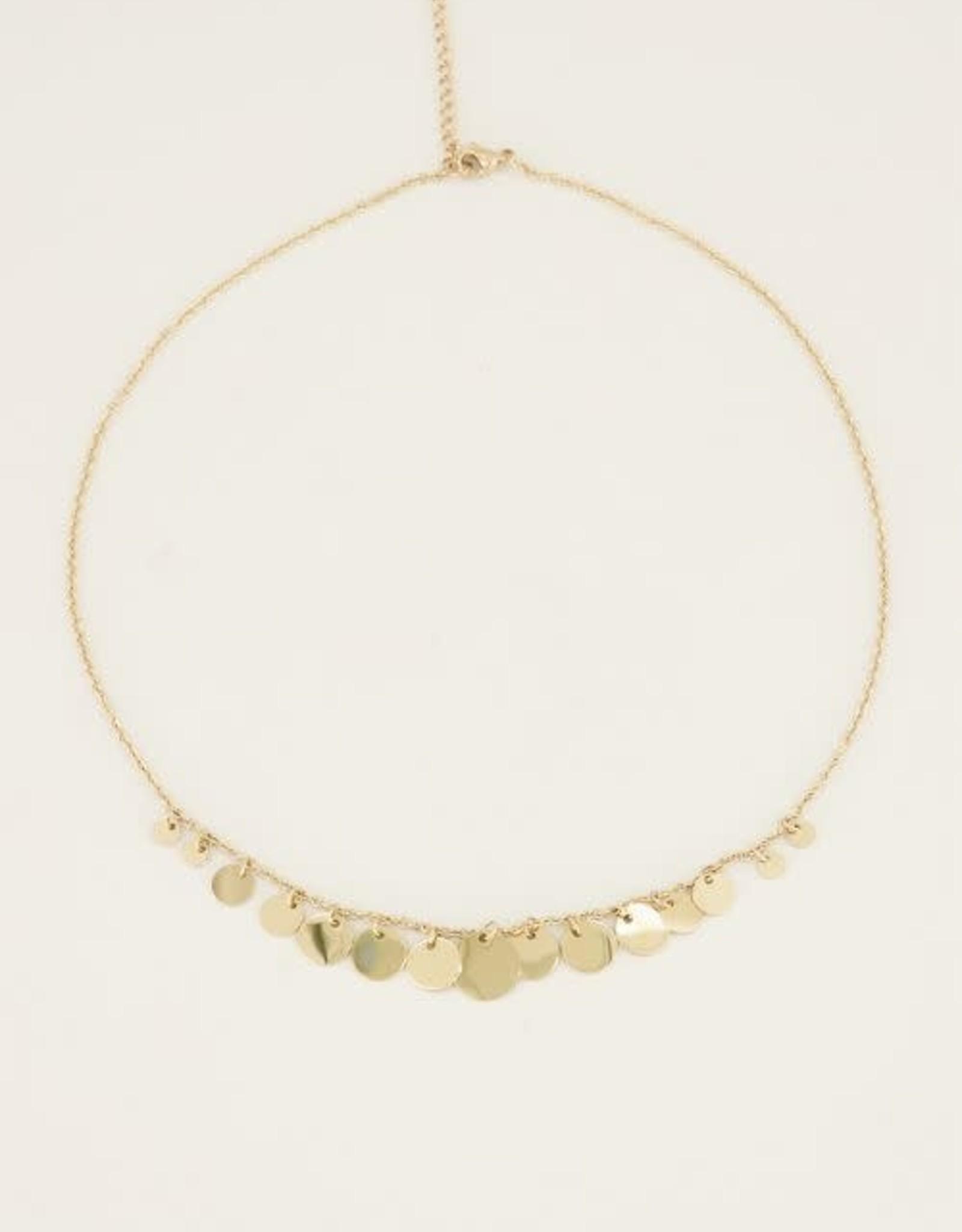 MY Jewellery Ketting met kleine & grote muntjes GOUD