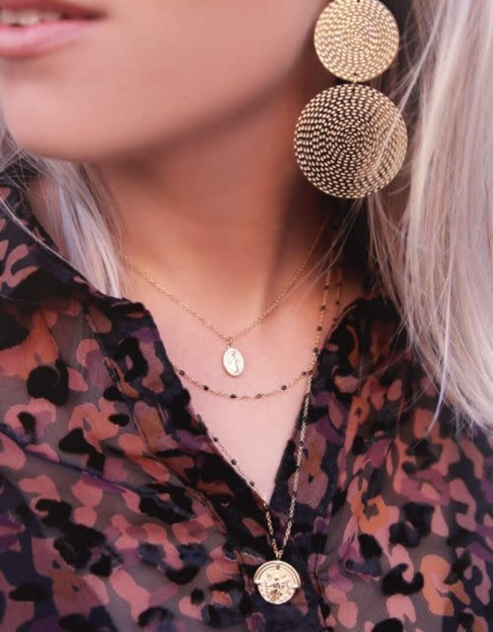 My Jewellery Driedubbele ketting muntjes en kralen GOUD