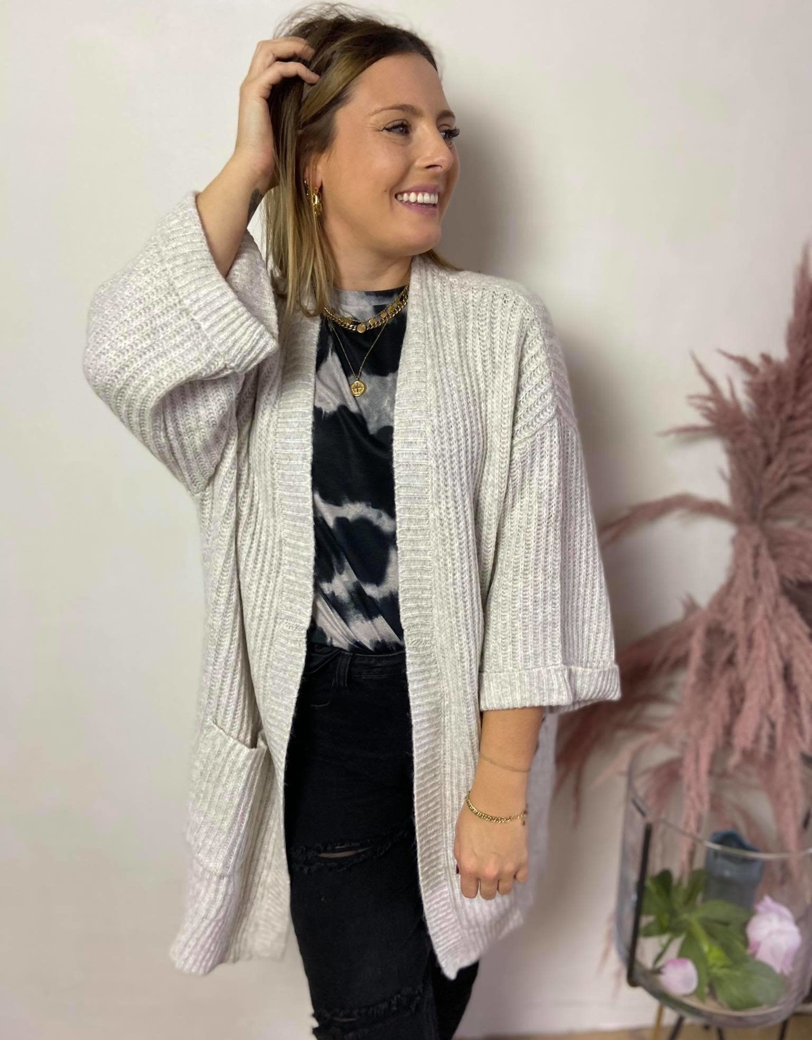 Kabitten knit cardigan light grey