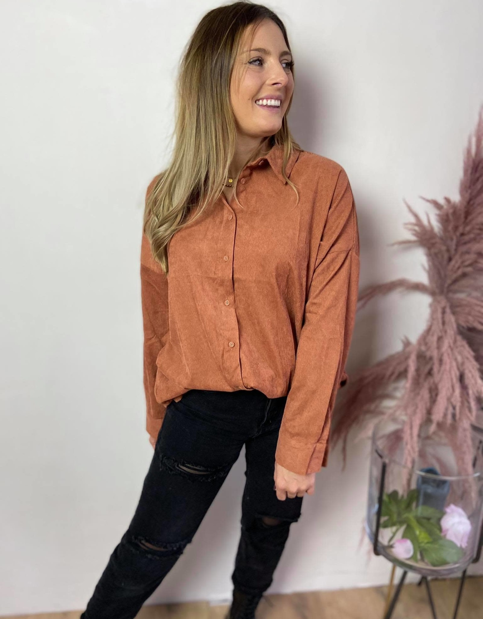 Blouse ribbed rust