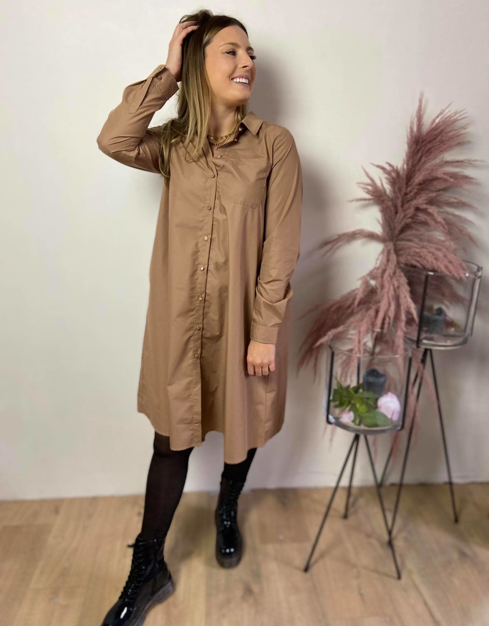 KAbeata shirt dress woodsmoke