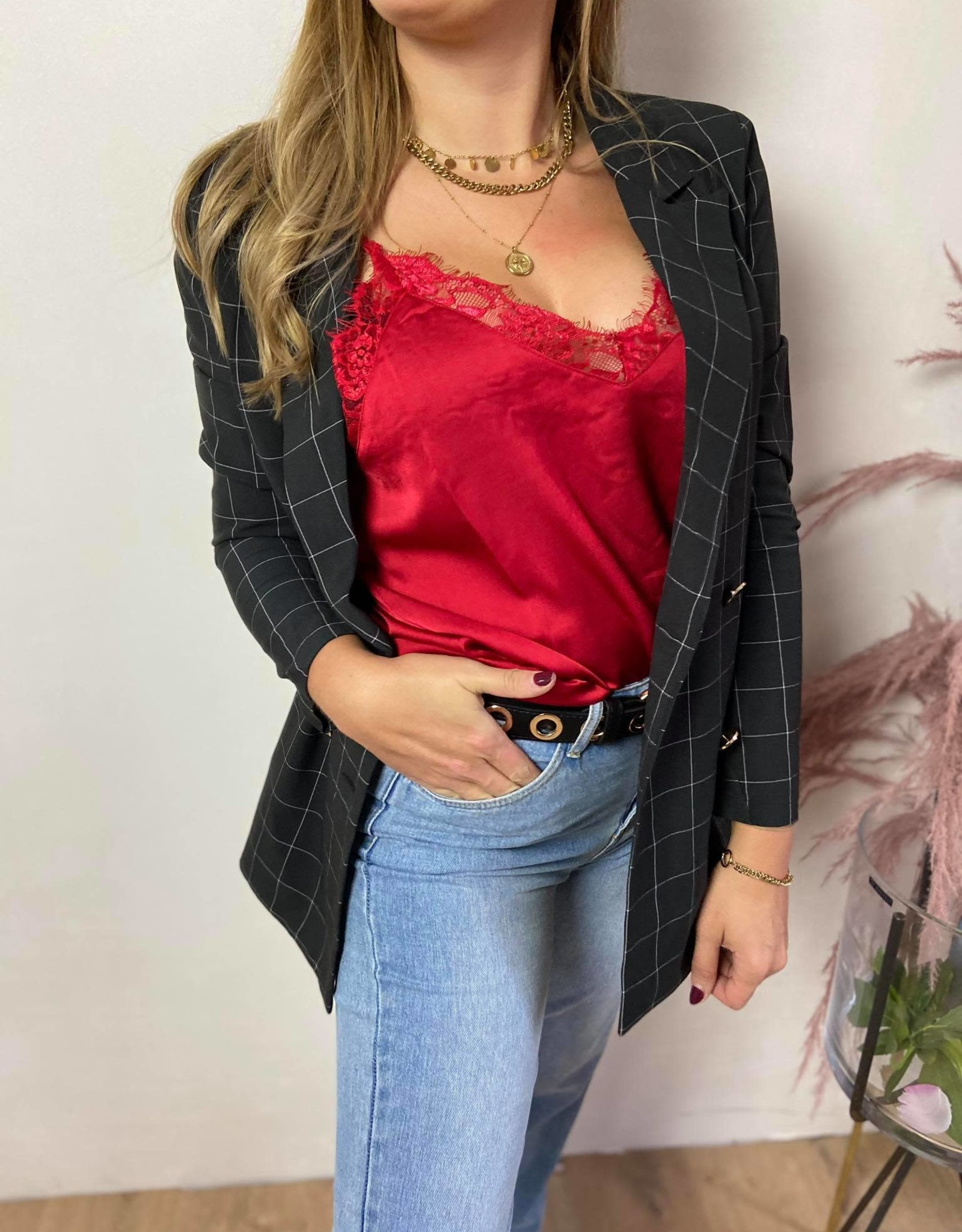 TINA LACE SINGLET red