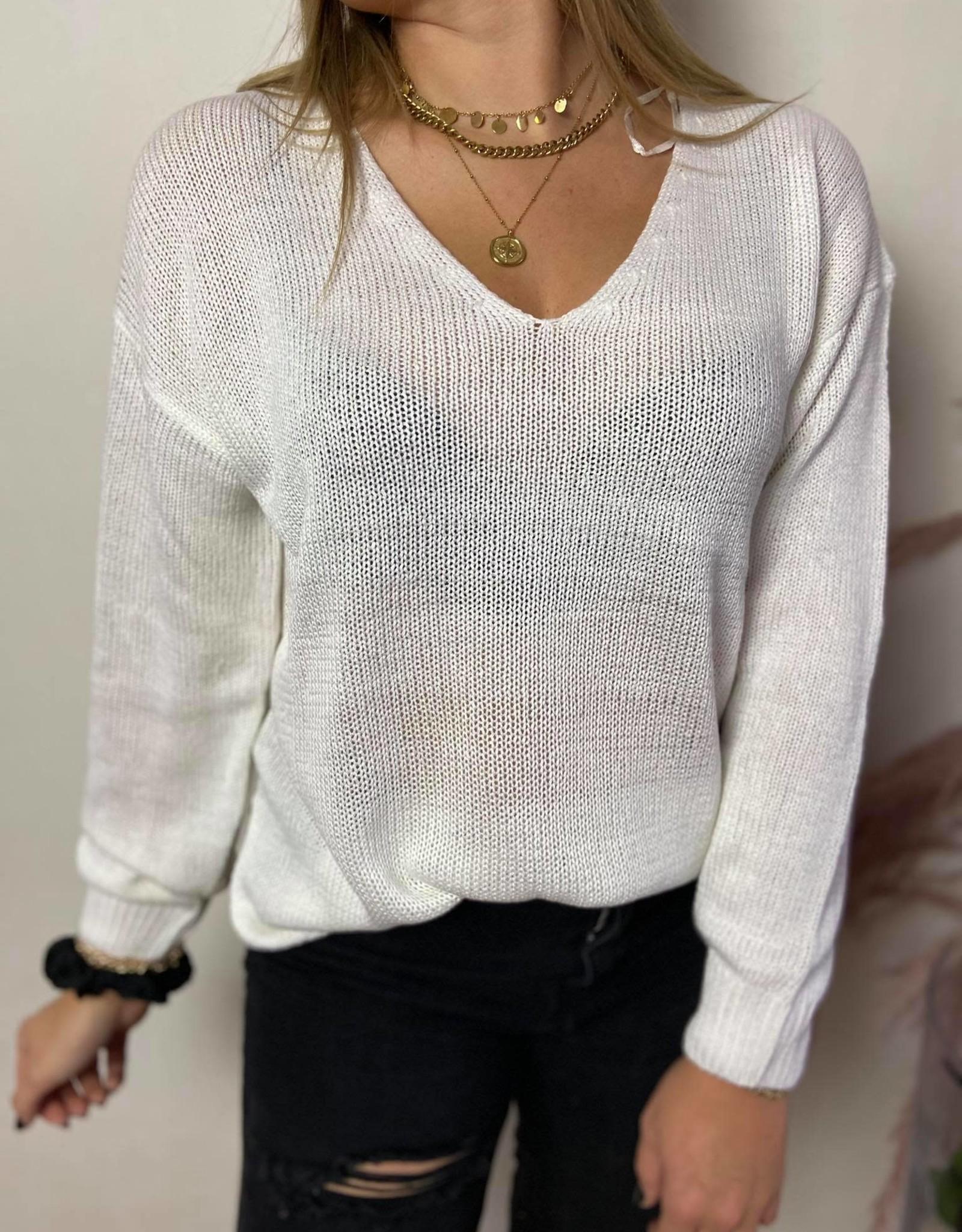 Cindy split knit white