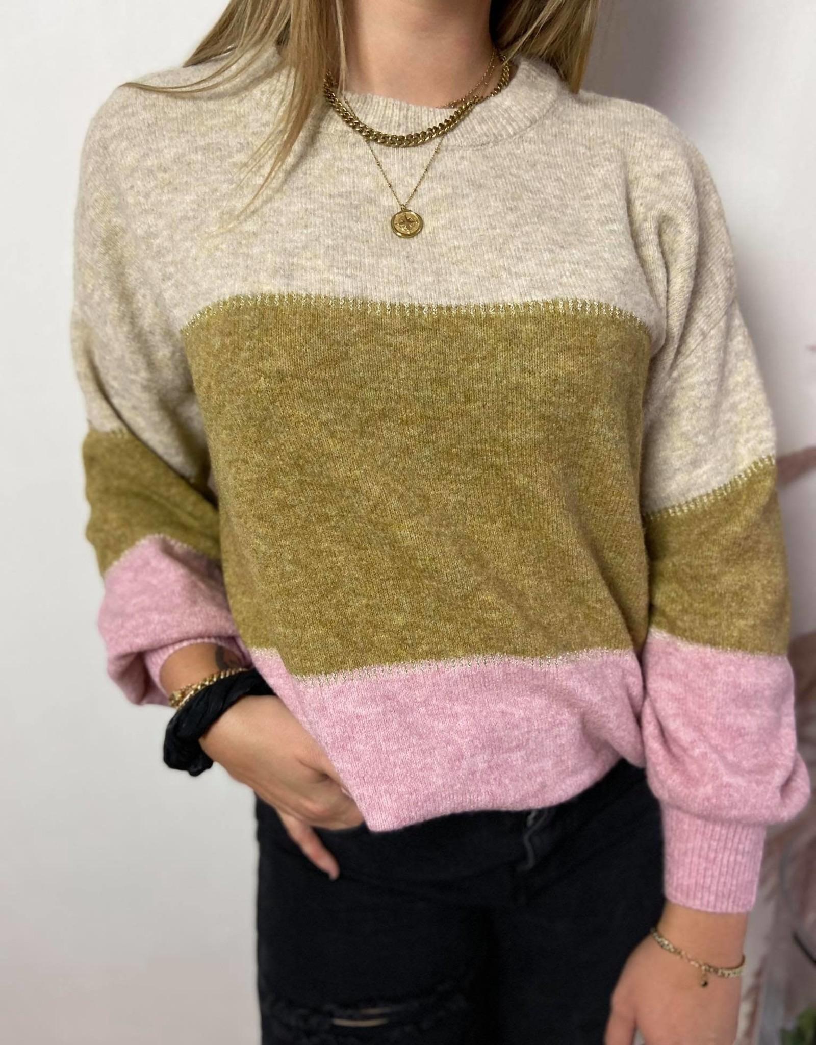 CRAngha Striped Pullover rose