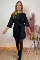 KATIE dress BLACK HAIRY JACQUARD