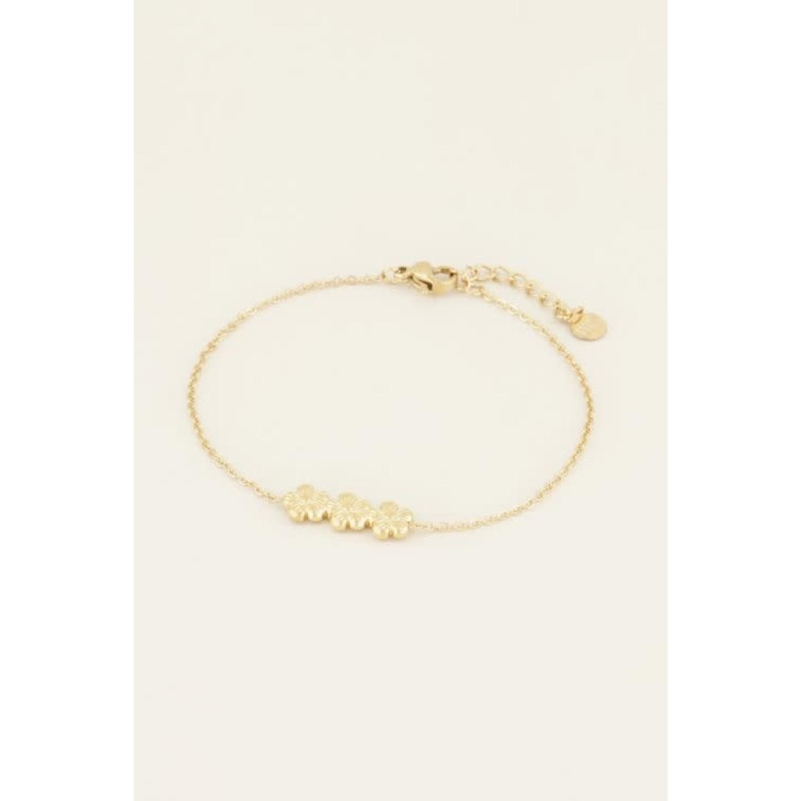 MY JEWELLERY Armband drie bloemetjes goud
