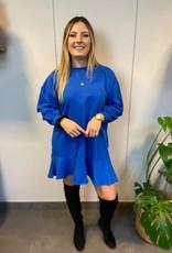 Sweatshirt dress with ruffles blue TU
