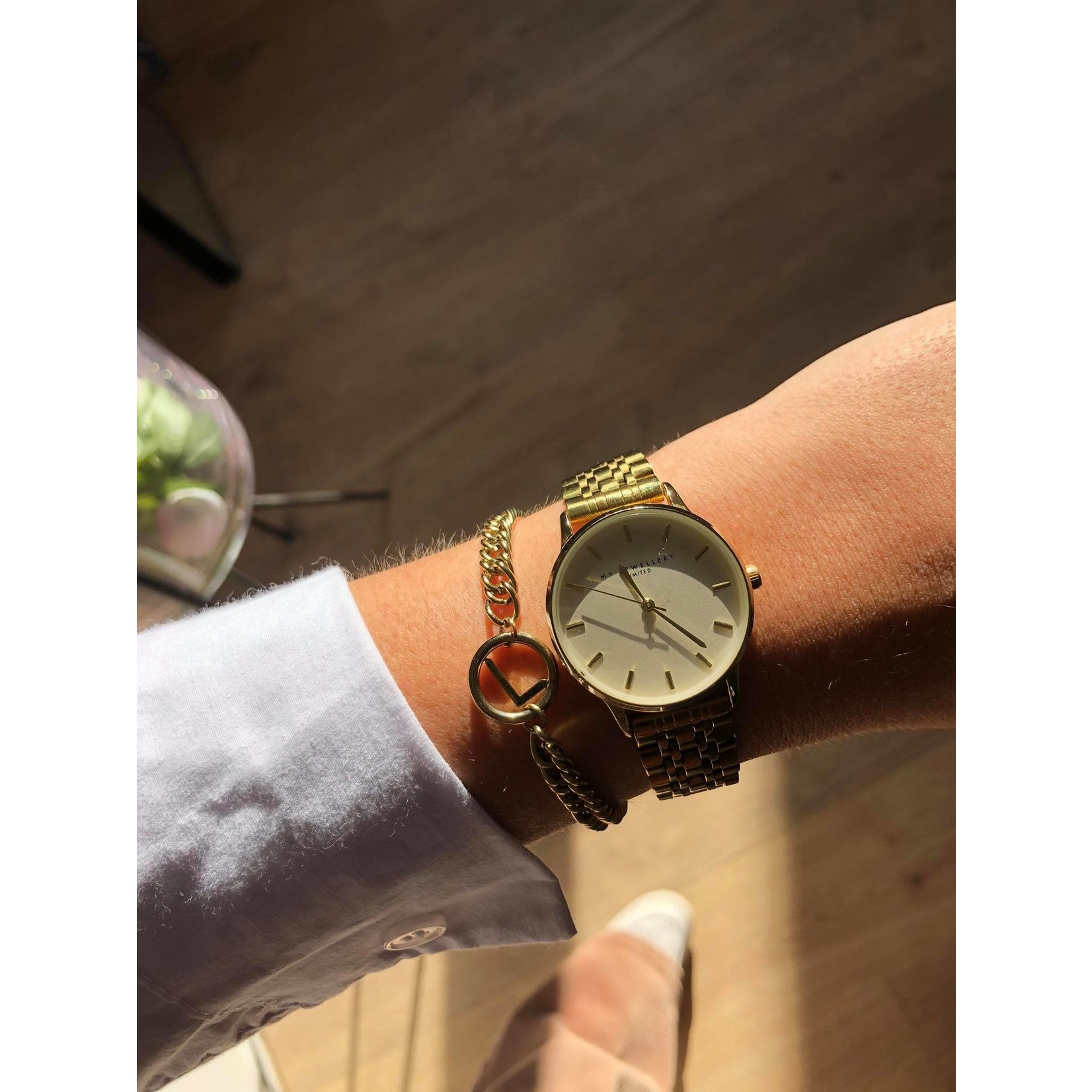 My Jewellery Rond horloge schakelband GOUD
