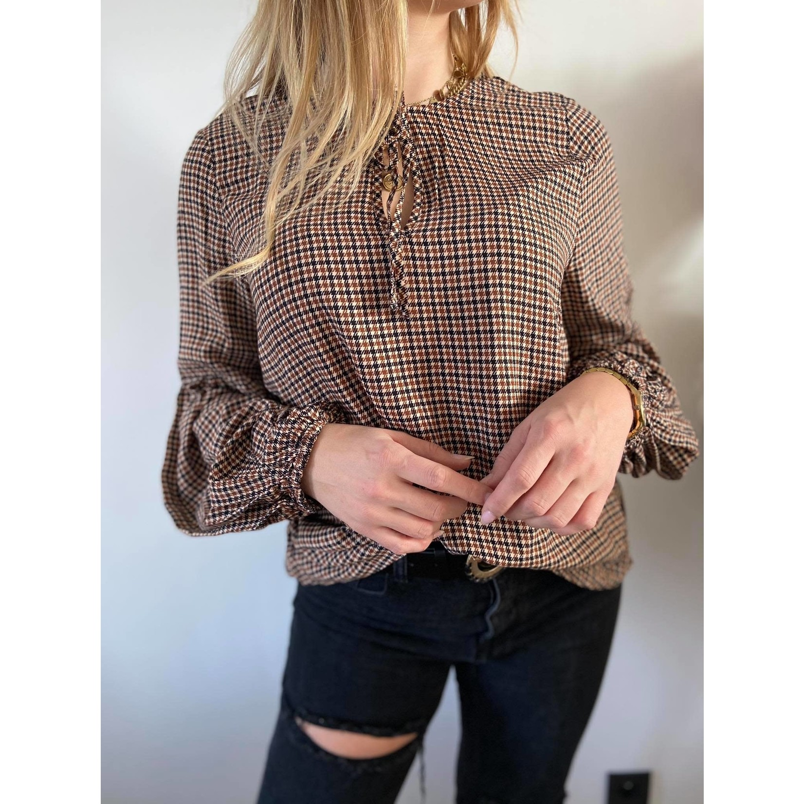 MYRA BLOUSE brown check