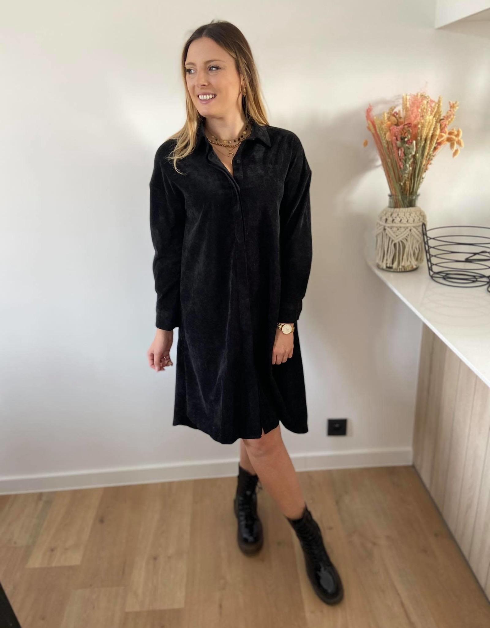 Shirt dress in corduroy black