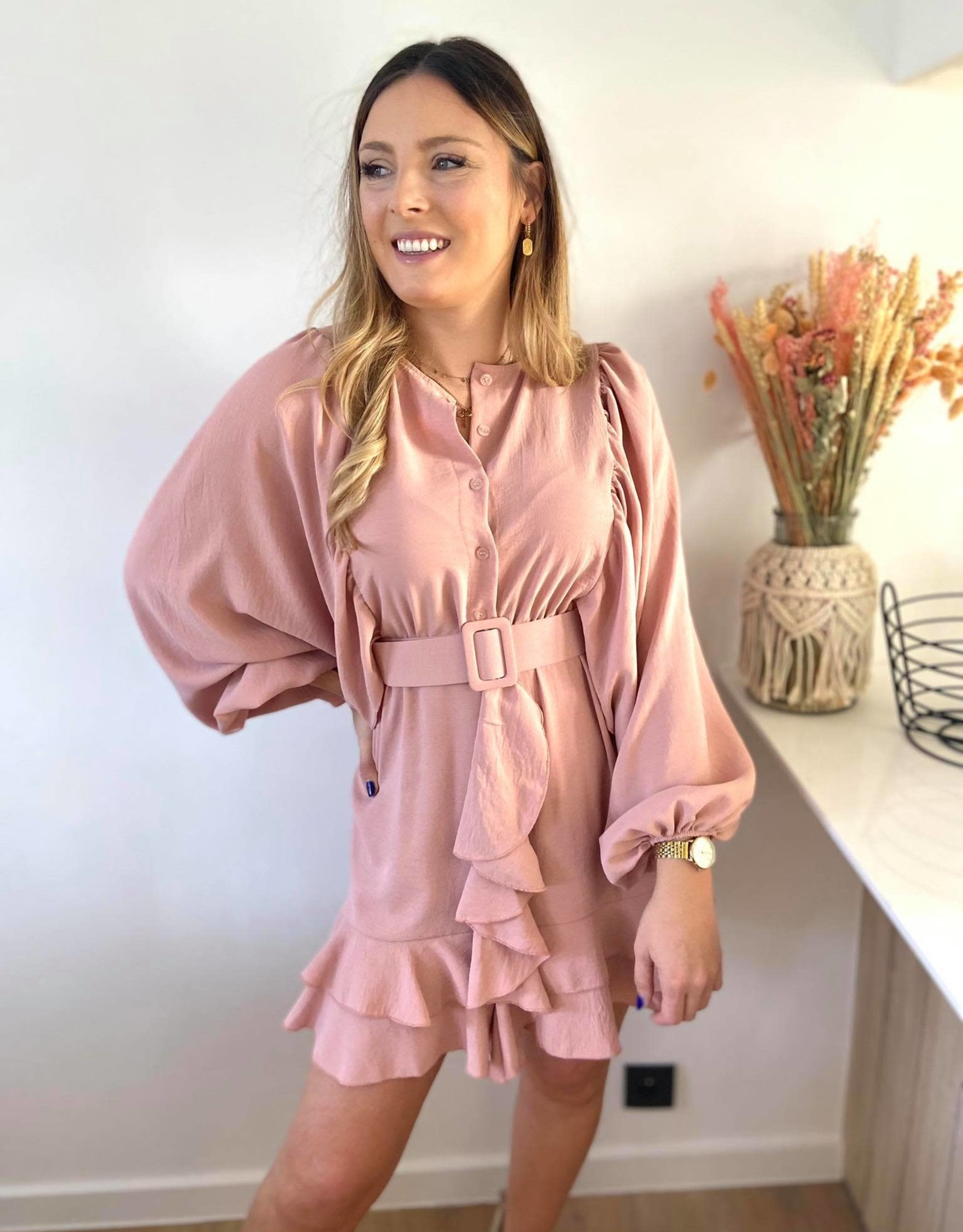 Musthave Ruffled dress roos