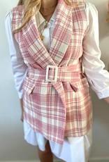 Sleeveless check  jacket pink TU